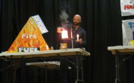 Gio entertains Wood students with Lawrence Hall of Science tricks.