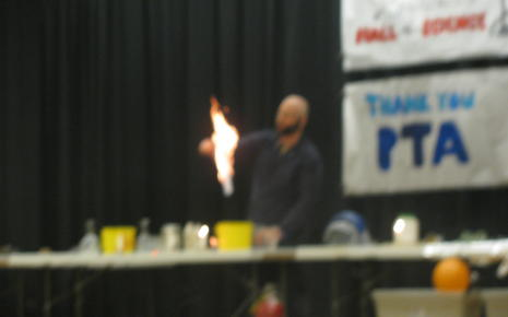 Gio amazes students with the power of fire.